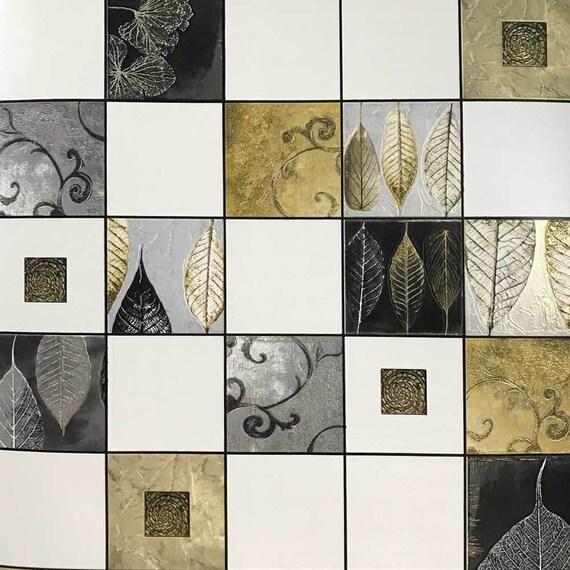 black white gold tile plaid checks textured wallpaper vinyl etsy
