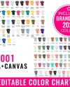 Bella Canvas 3001 Color Chart Mockup Editable Bella Canvas Etsy