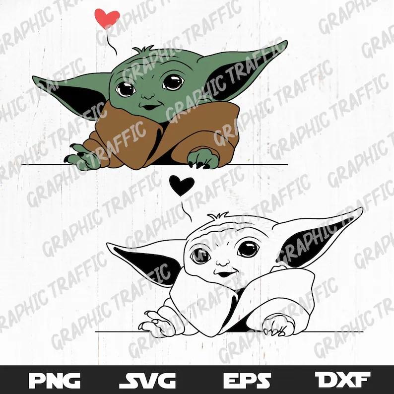 Download Baby yoda SVG file for cricut Digital download Valentine ...