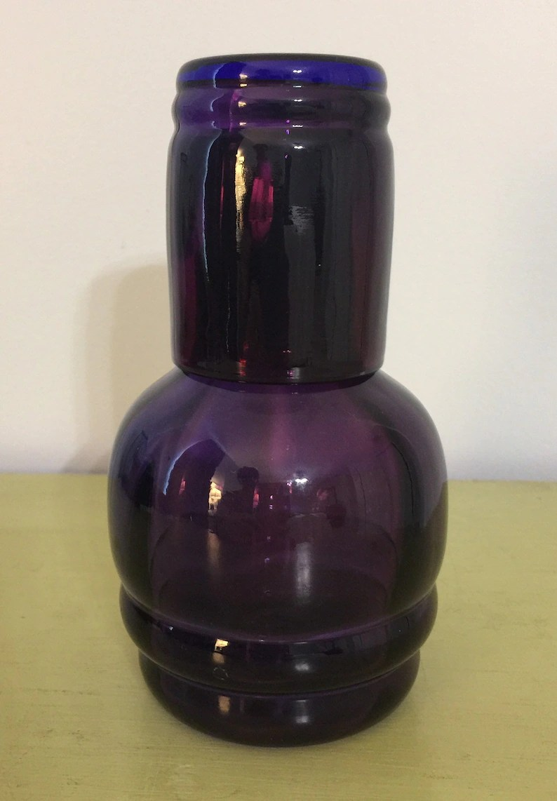 Dark Purple Nightstand Carafe With Matching Cup Nightstand Water Pitcher And Cup