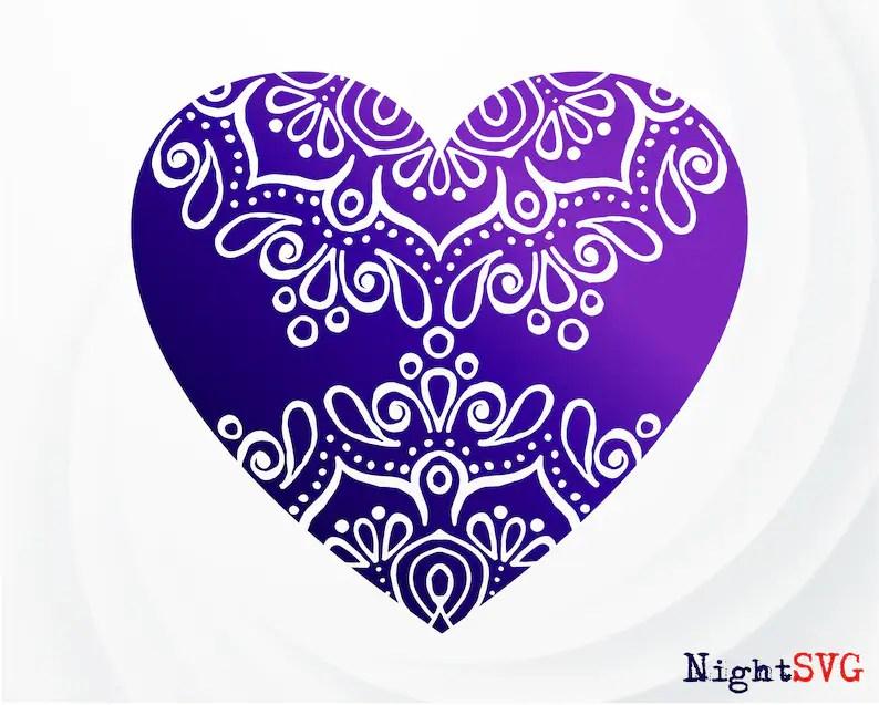 Download Heart Mandala SVG Love heart SVG Heart print Mandala Love ...
