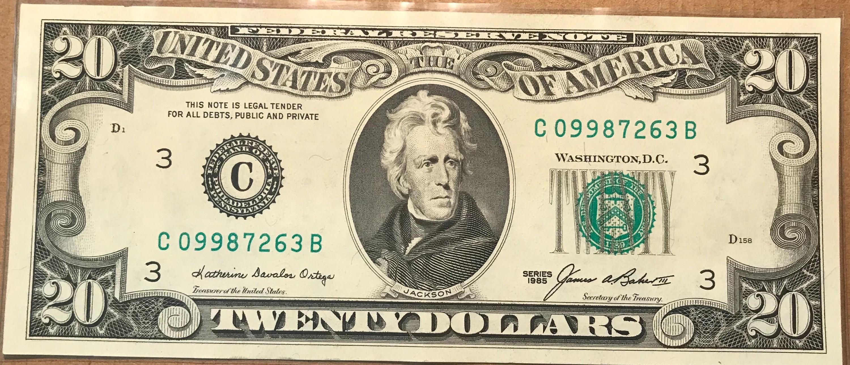 20 Dollar Bill Vintage Like New