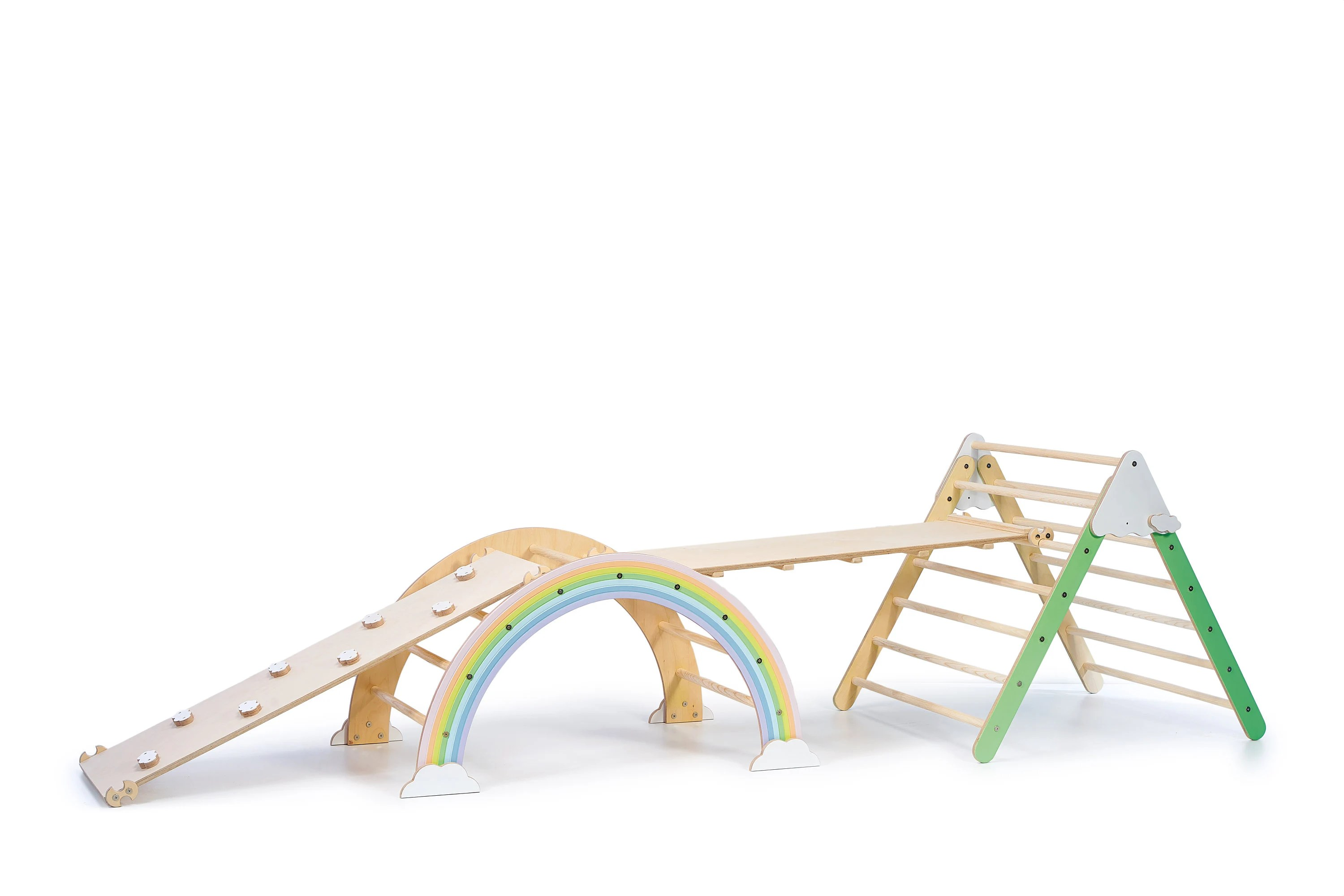 Foldable Pikler Triangle Climbing Arch with Ramp Climbing Painted-Pastel