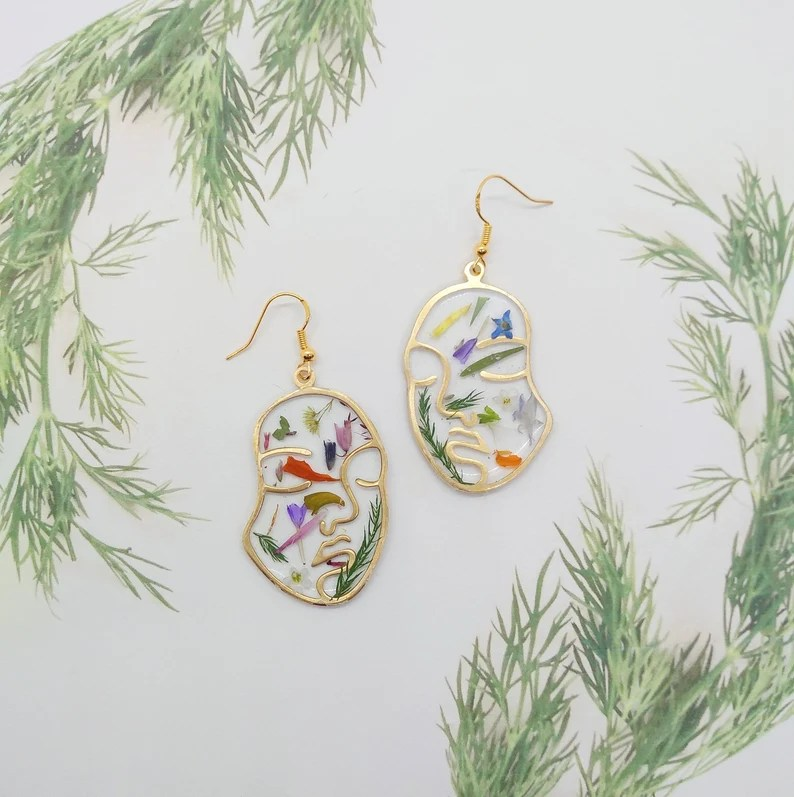 'Real flower earrings'  terrarium earrings'  'Gold Earrings' 'pressed flowers'  'Flower Jewelry'  'Minimalist Jewelry'