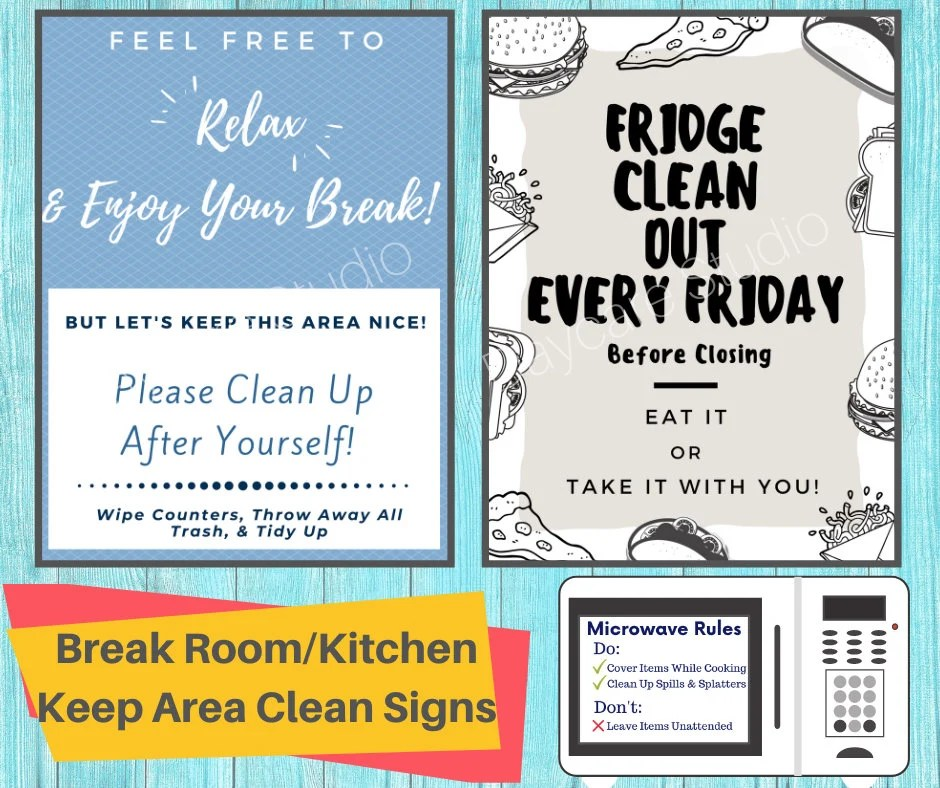 keep area clean signs 3 printable signs for fridge microwave and room designed for employees perfect for break rooms kitchens