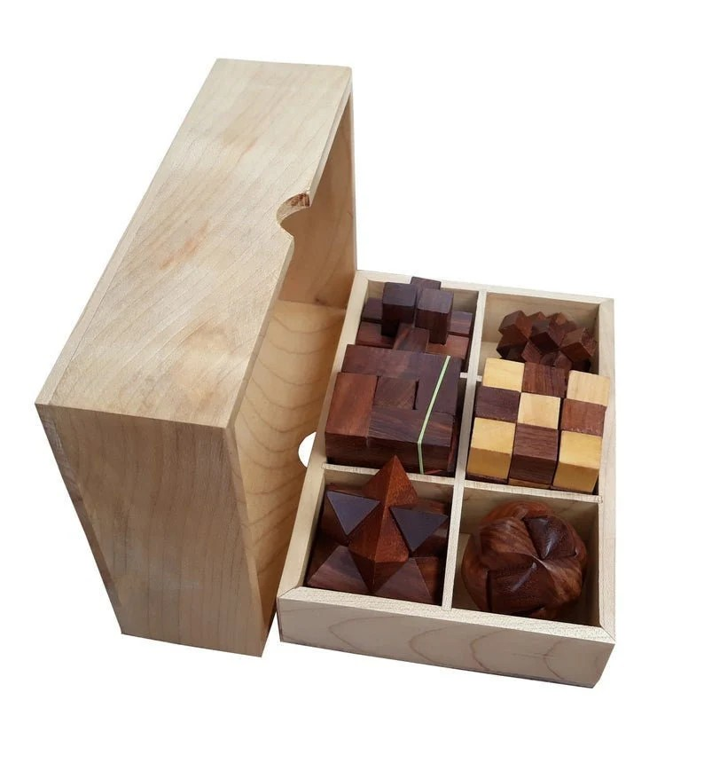 A good crossword puzzle solver doesn't necessarily know all the answers but what she/he does. Handmade brain teaser puzzle set 6 wooden mechanical ...