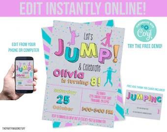 jump invitation etsy
