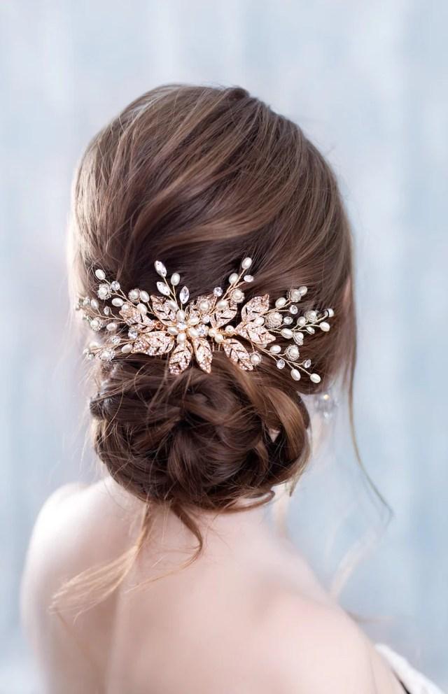rose gold hair comb rose gold hair piece rose gold hair accessories rose gold bridal hair comb rose gold wedding comb rose gold head piece