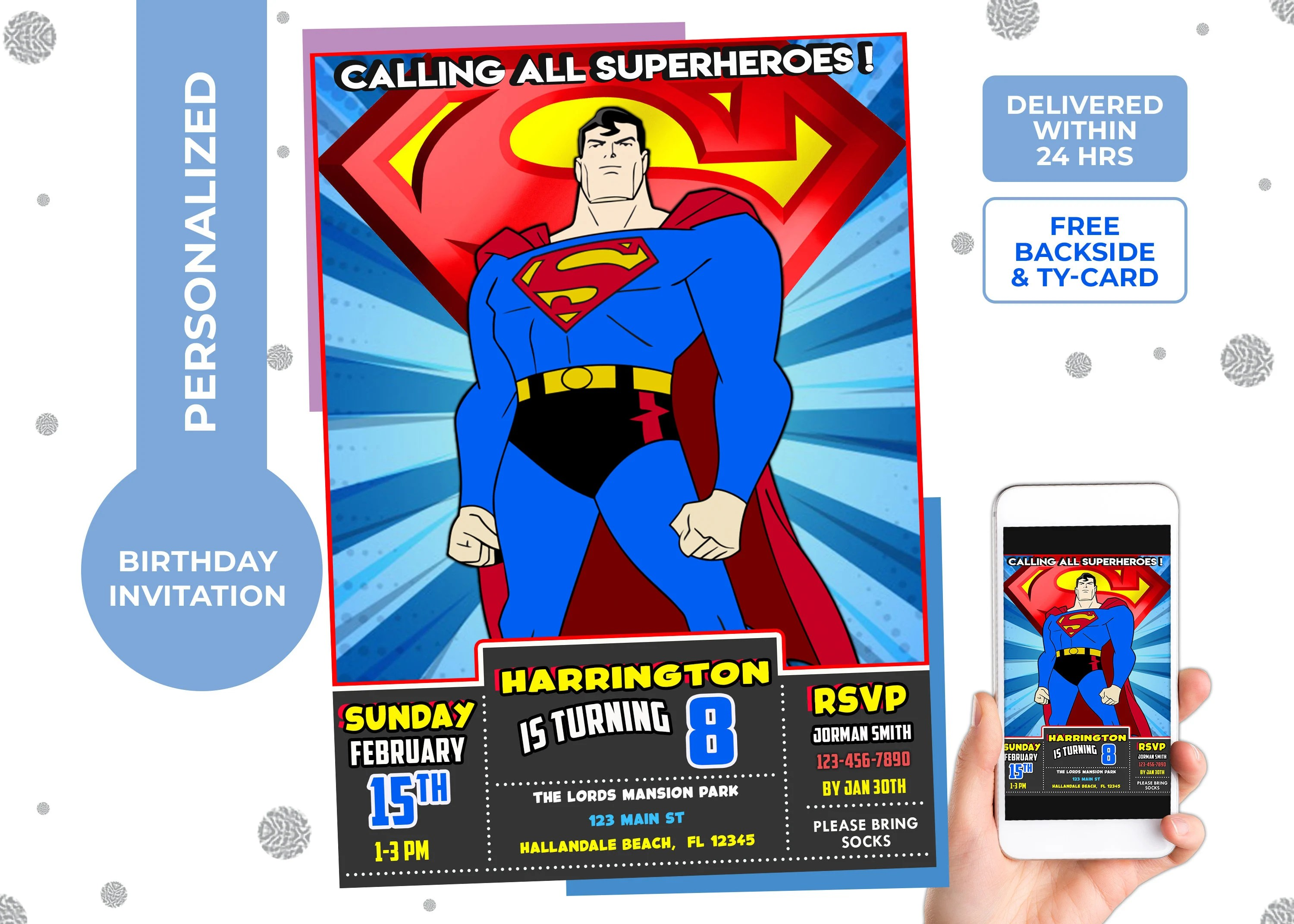 superman invitation etsy