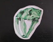 Fossil Sticker | Green | Sabre Toothed Cat | Smilodon | Dinosaur Sticker