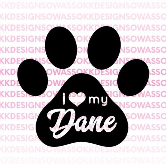 I love my dog dane great dane heart paw pet SVG JPG PNG | Etsy