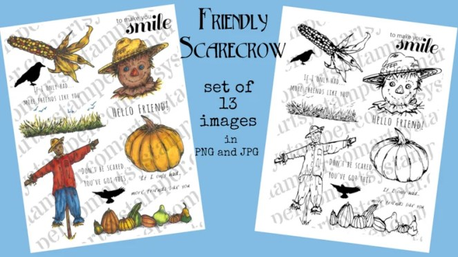 Friendly Scarecrow Digital Stamp Set for Thanksgiving and image 0