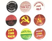 Anti Capitalism Pin Buttons / Hammer and Sickle / Eat the Rich / Healthcare for All / Solidarity Forever
