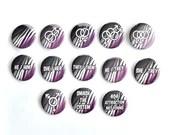 Asexual Ace Pride Flag Pin Button / Tiger Stripes / Pronouns / LGBT Pride