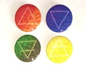 Elements Pin Button Set / Fire Water Earth Air