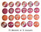 Lesbian Pride Flag Pin Button / Tiger Stripes / Pronouns / LGBT Pride