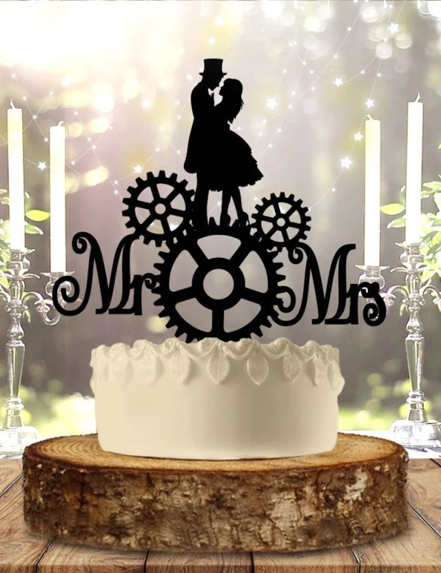 Steampunk Mr and Mrs Wedding Cake Topper.