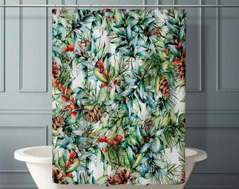 xmas shower curtain etsy