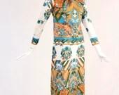 Vintage 1970s Printed Maxi Dress, Rare 70s Layered Long Sleeve Disco Ankle Hem Dress, Vintage Floral Geometric Wallpaper Printed Dress