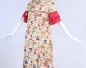 Vintage 1970s Conversational Maxi Dress, Vintage Novelty Bamboo Dress, Vintage Conversational Asian Inspired Dress