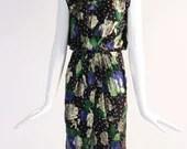Authentic 1980s Vintage Rose Print, Polka Dot Black Dress