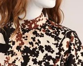 Vintage 1960s Abstract Floral Printed Dress, Vintage Brown, White and Black Printed Fit and Flare Dress