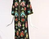 Vintage Long Black Floral Kimono