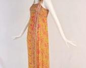 Vintage 1960s Bright Paisley Maxi Dress, Rare 60s Silk Chiffon Maxi Dress, Authentic 1960s Disco Maxi Dress, Tank Top Paisley Maxi Dress