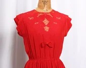 Vintage 1950s Red Floral Cutout Dress