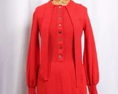 Vintage 1970s Saks Fifth Avenue Red Knit 70s Dress, 1970s Red Sweater Dress