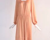 Authentic 1970s Vintage Pink Long Sleeve Maxi Dress