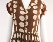 Vintage 1950s Brown Polka Dot Dress with Collared Top, Vintage Fit and Flare Midi Dress With Printed Polka Dots, Pleated Skirt Dress