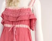 Vintage 1970s Young Edwardian Dress, 1970s Cotton Gauze Peasant Dress, Vintage Pink Tank Top Dress, Empire Waistline Tank Top Dress