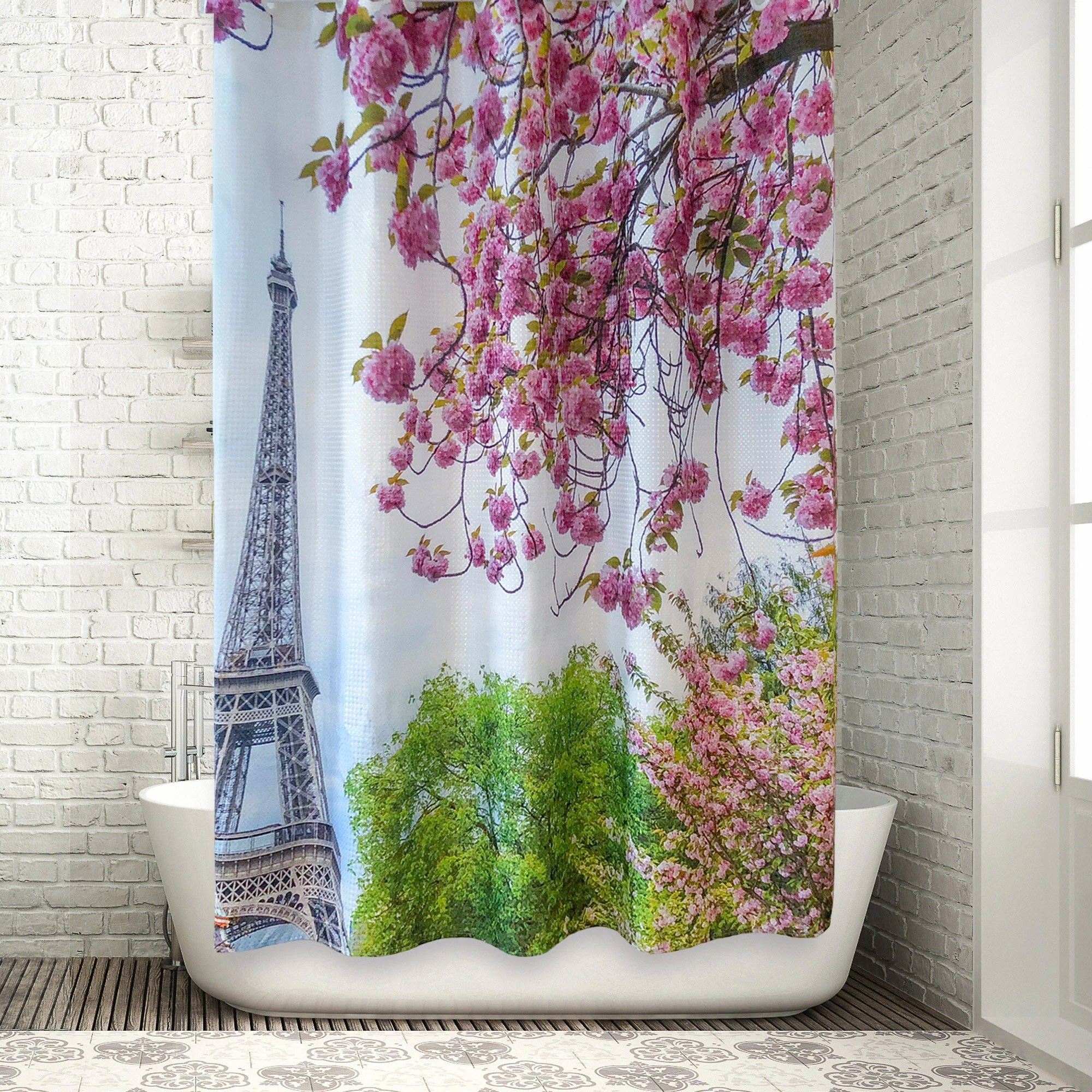 Paris Shower Curtain Eiffel Tower Cherry Blossoms 100 Polyester Waffle Fabric Waterproof Mildew Resistant 72 X 72 Inches
