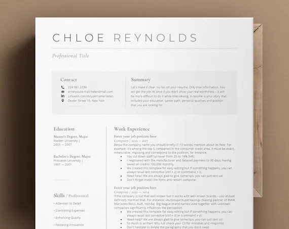 All products from apple pages resume. Modern Resume Template Apple Pages Ms Word Cv Template With Etsy
