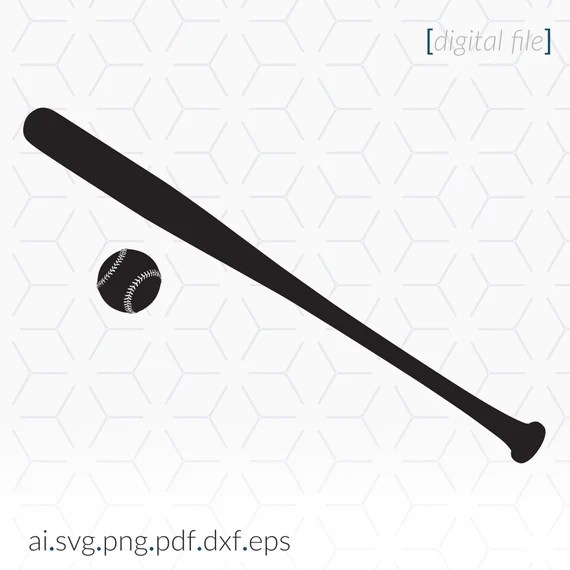 Download Baseball Bat and ball Silhouette SVG file for cutting and ...