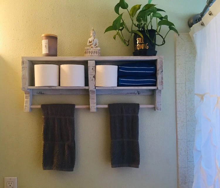 bathroom shelves with towel bar rustic over toilet storage etsy
