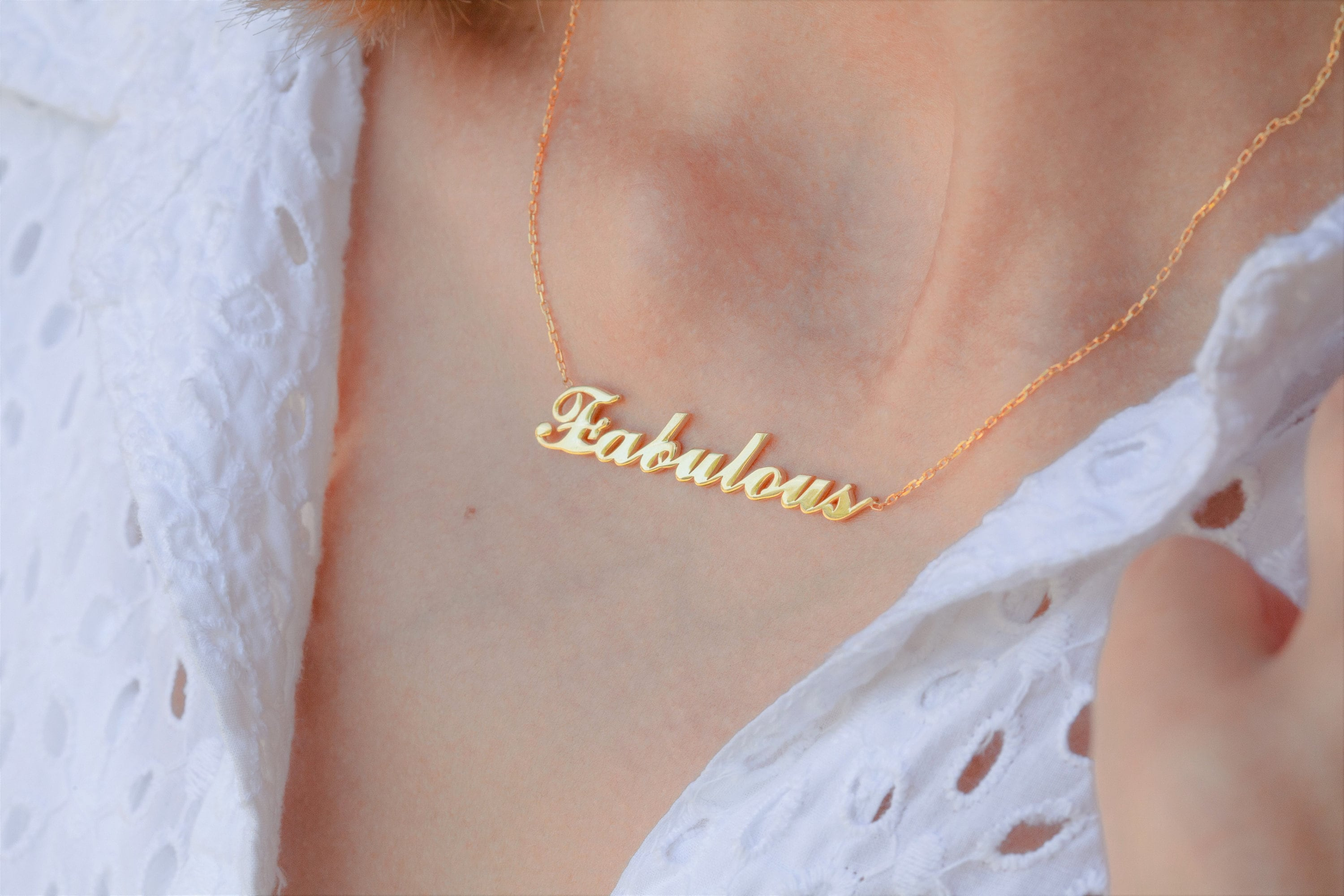 Gold Personalized Word  Custom Name Necklace  Personalized image 1