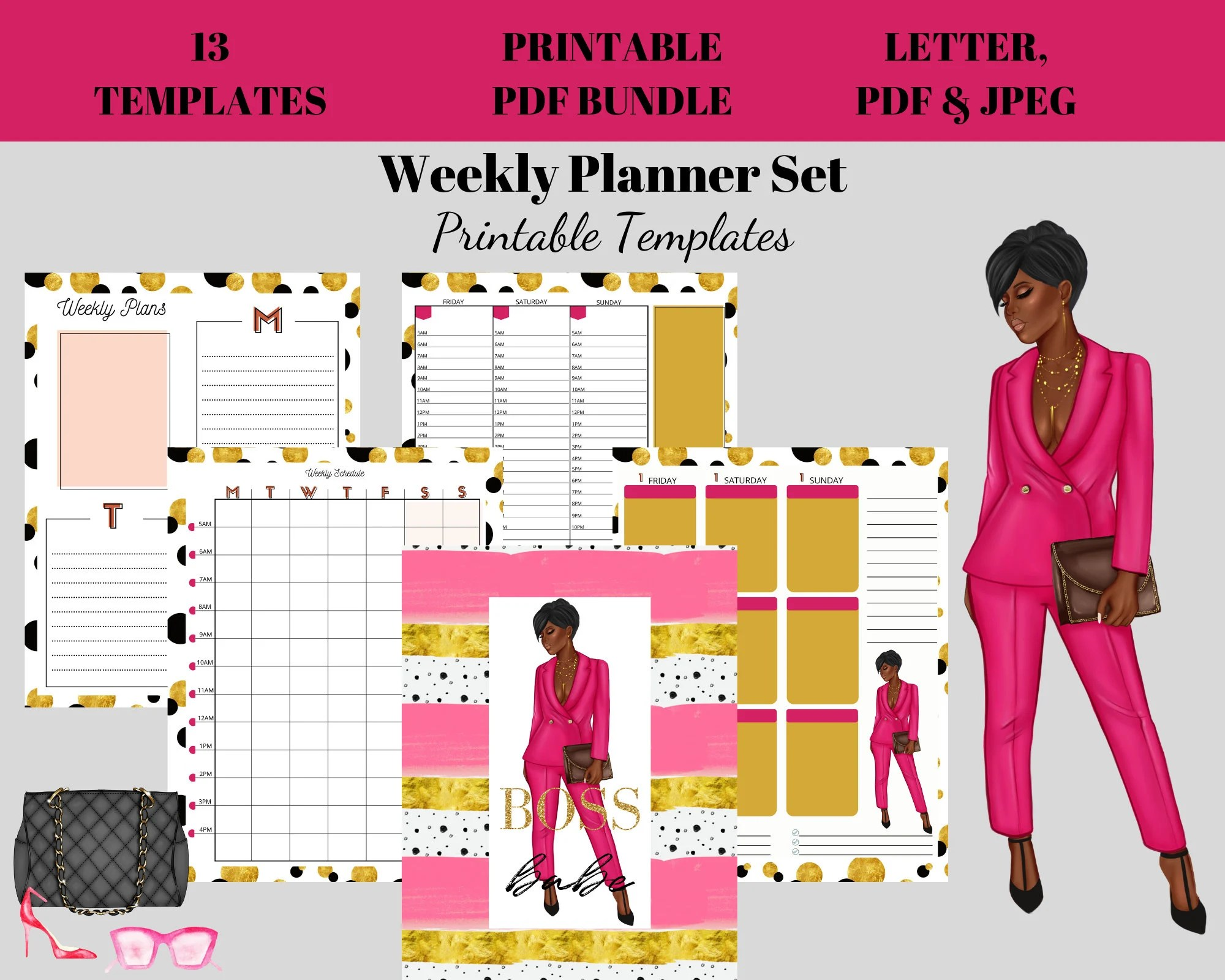 Weekly Hourly Planner Kit Printable Week Plan Templates