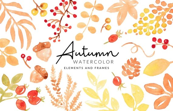 Soft Autumn / Fall Watercolor Clipart   Leafs and Berries   Digital Download   Separate PNG Elements   Clipart Frames   Red Orange Clipart