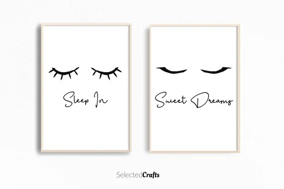 Eyelashes Print Set For Instant Digital Download   Perfect for Scandinavian or Minimal Bedroom Decor   Watercolor Wall Art Printable  