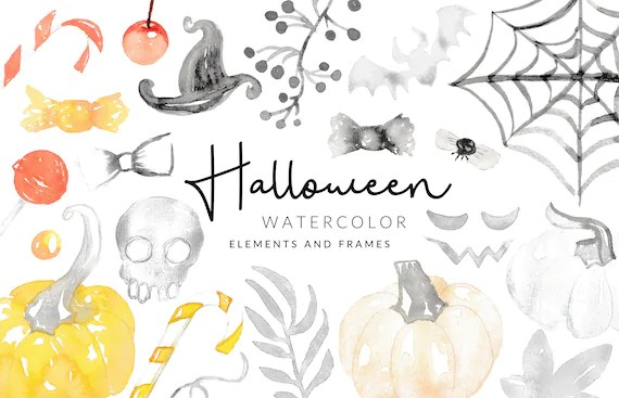 Soft Halloween Watercolor Clipart   Candy and Pumpkins   Digital Download   Separate PNG Elements   Clipart Frames   Yellow Black Clipart