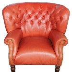 Over Sized Red Tufted Leather Wingback Arm Easy Club Chair Vintage
