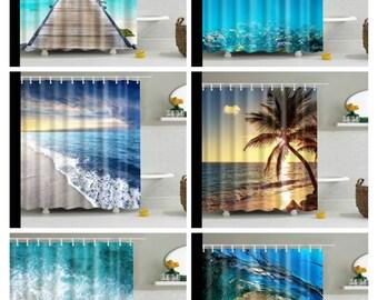beach shower curtain etsy
