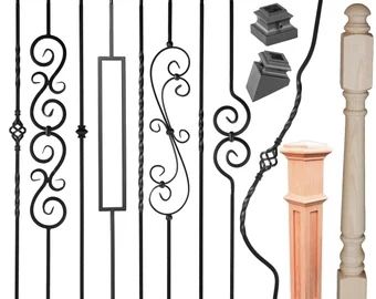 Premium Iron Balusters Iron Spindles Metal Stair Parts Etsy | Stair Posts And Spindles | Stairway | Newel Post | Inexpensive | Rectangular | Railing