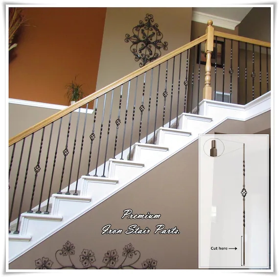 Iron Balusters Iron Stair Parts Iron Stair Railing Parts Etsy   Iron Handrails For Stairs   Cheap   Staircase   Spanish Style   Wood   Craftsman Style