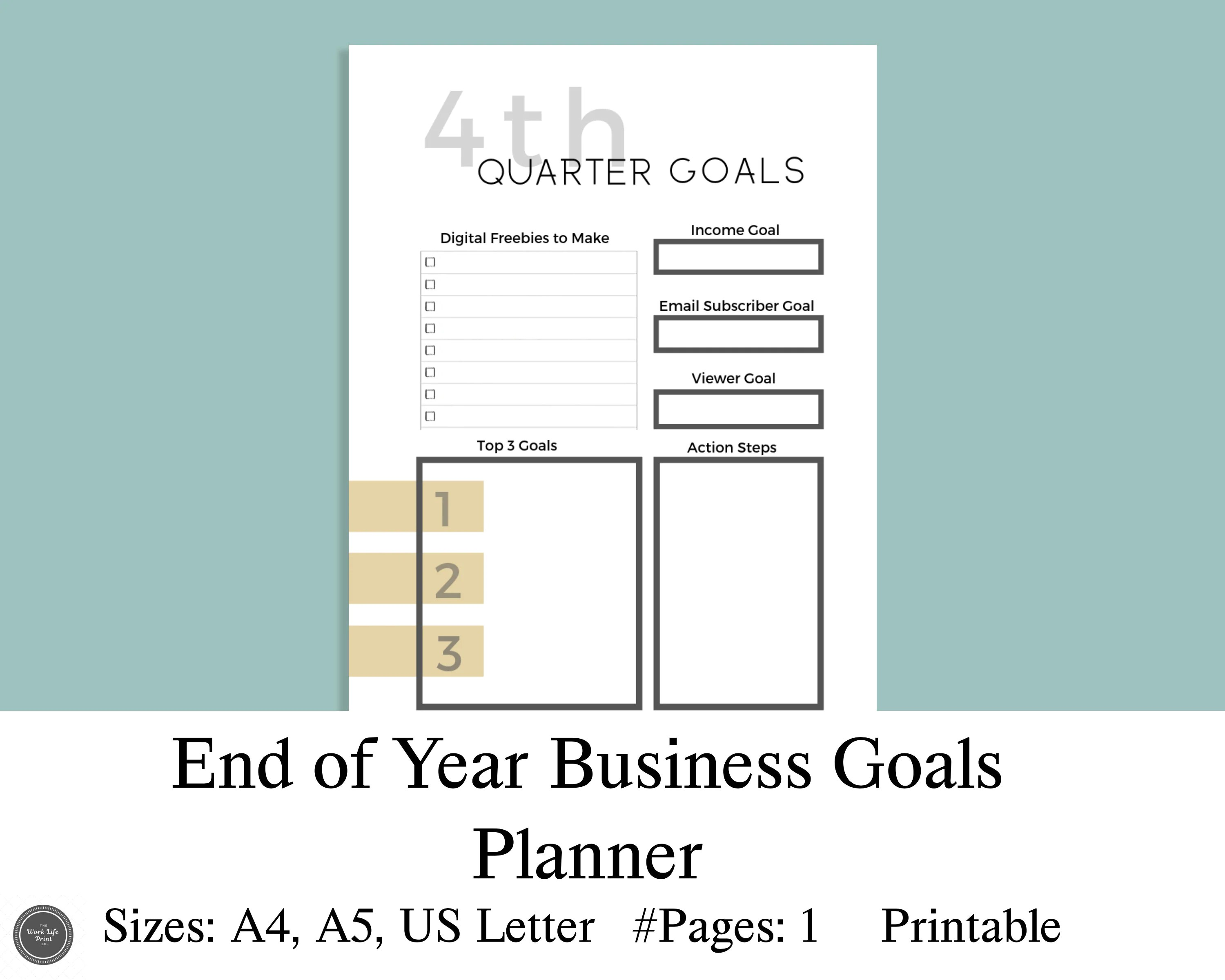 End Of Year Blog Content Planner Printable Goal Planner
