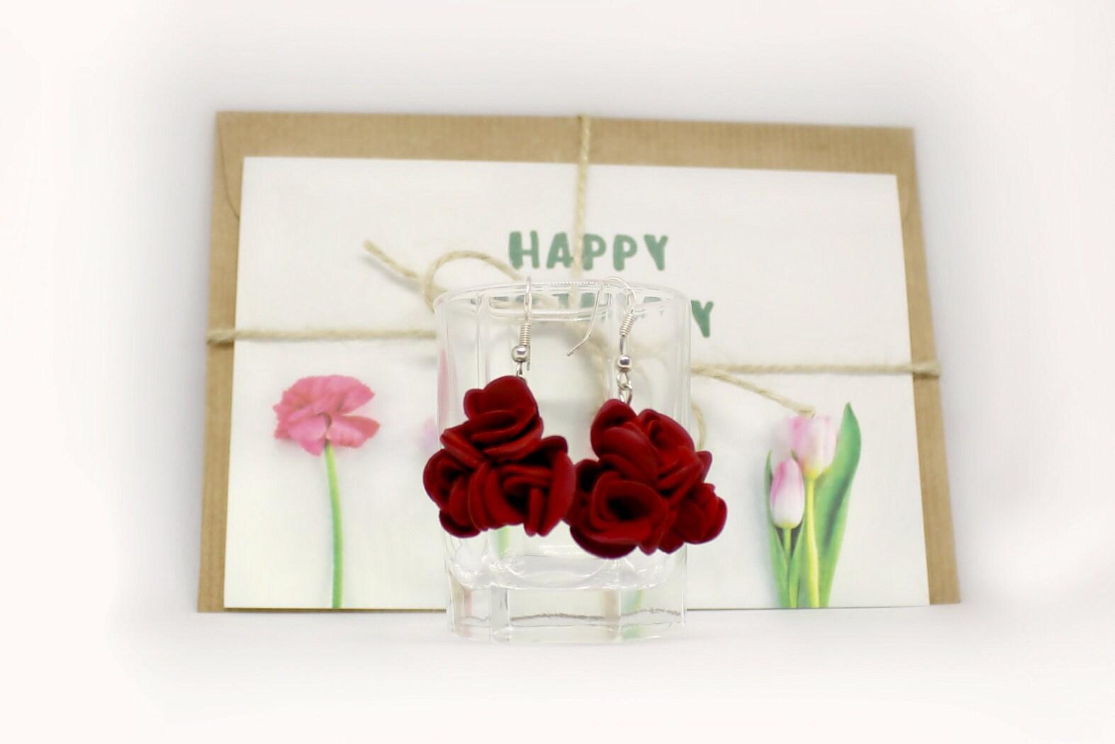 Burgundy/Marsala Red Roses Dangling Earrings S.Valentine / image 2