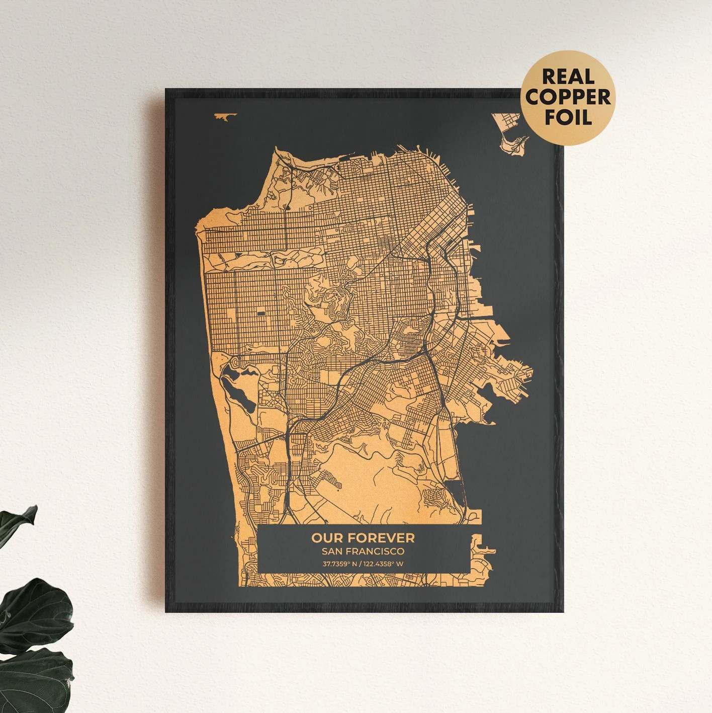 Gold custom map print the perfect anniversary gift or image 4