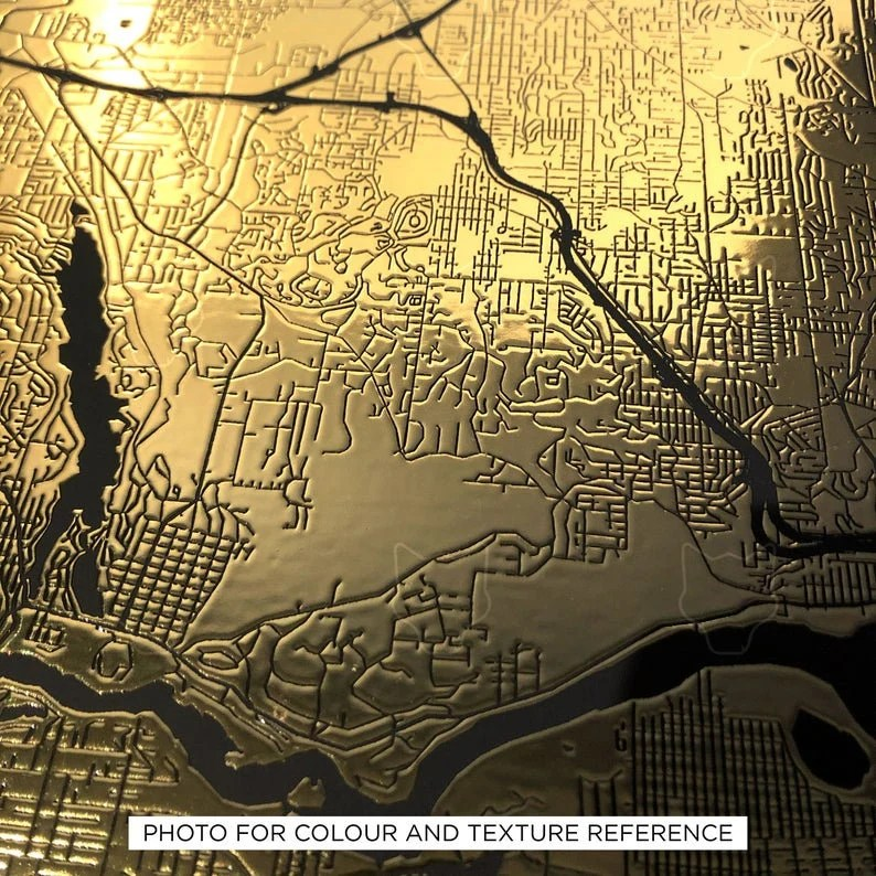 Gold custom map print the perfect anniversary gift or image 6